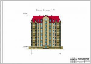 Многоэтажный монолитный жилой дом с квартирами в 2-х уровнях. Фасад здания