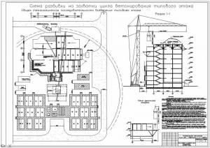 Многоэтажный монолитный жилой дом с квартирами в 2-х уровнях. Техкарта. Бетонирование типового этажа