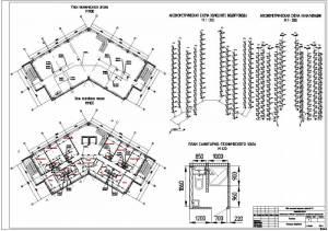 Проект гостиницы. План технического и типового этажа. Аксонометрическая схема водопровода и канализации. План санитарно-технического узла