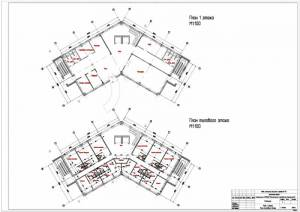 Проект гостиницы. План первого этажа. План типового этажа