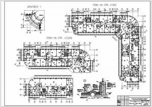 Административно-бытовой корпус металлургического завода. План первого и второго этажа. Фрагмент плана. Узлы