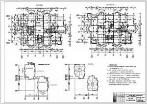 Монолитный жилой дом. План первого и типового этажа