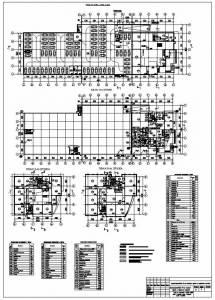Административное 9-ти этажное здание с подземным гаражом. План подземной автостоянки. План первого этажа