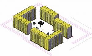 Девяти этажный 2-секционный жилой дом. 3-d модель застройки