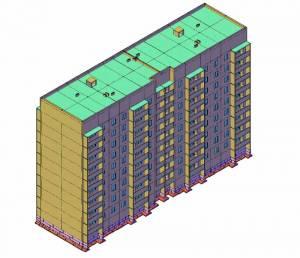 Девяти этажный 2-секционный жилой дом. Изометрия. 3-d модель здания