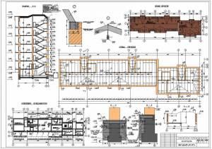 Реконструкция жилого 5-этажного здания. План кровли. Схема стропил. Схема усиления фундаментов. Разрез здания