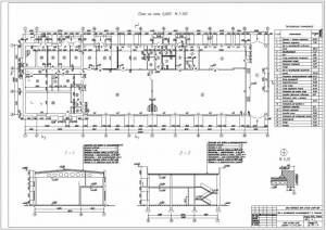 Цех по производству молокопродуктов. План на отметке 0.000. Разрез здания. Узлы