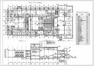 Дом культуры на 600 посетителей. План первого этажа. Разрез здания