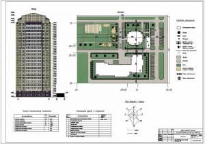 22-этажное многофункциональное здание. Фасад. Генплан