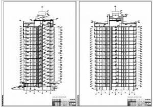 17-ти этажный жилой дом. Разрезы здания