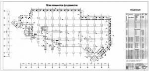 Универсам в г.Витебск. План элементов фундаментов