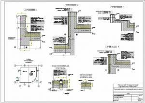 Торговый центр с подземной автостоянкой. Сечения по стенам и покрытию