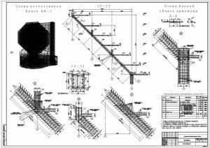 Национальная библиотека. Схема расположения балок монолитных. Армирование балок