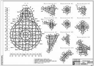 Национальная библиотека. Схемы раскладки арматурных каркасов фундаментной плиты. Узлы