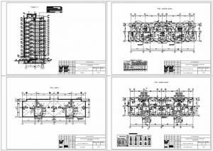 Жилой 10-ти этажный дом. План первого и топового этажа, разрез здания, план кровли
