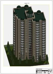 16 поверховий житловий будинок в житловому масиві. Изометрия здания