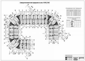 Проект многоэтажного жилого дома. Схема расположения плит перекрытия