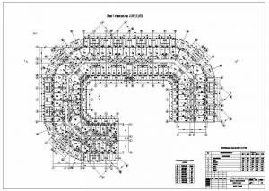 Проект многоэтажного жилого дома. План первого этажа