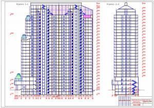 Монолитный 28-ми этажный жилой дом. Разрезы здания
