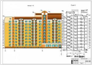 Общежитие семейного типа. Фасад и разрез здания