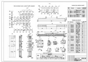 Детский сад-ясли на 6 групп (140 мест). Схема расположения колонн и ригелей, колонна и ригель КЖИ