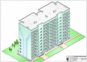 Жилой комплекс на 44 квартиры. Фасад здания. Изометрия