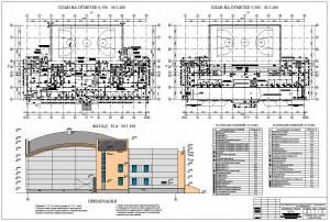 Спортивный корпус с залом 36*18м. Фасад здания, план первого и второго этажа