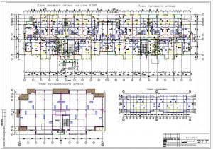 12-ти этажный монолитный жилой дом. План первого и типового этажа, тех этажа
