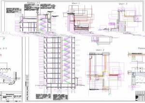 12-ти этажный монолитный жилой дом. Разрез здания, узлы