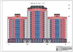 12-16 этажное жилое здание со встроенными помещениями. Фасад здания