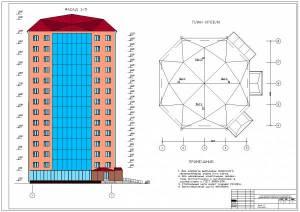 14-ти этажный жилой дом для малосемейных. Фасад здания, план кровли