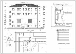 Учебно-спортивный комплекс ХГУ. Фасад здания, ситуационный план, генплан