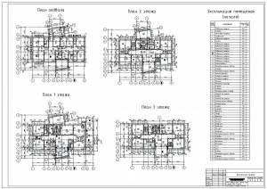 Детская художественная школа г.Абакан. План подвала, планы этажей, экспликация помещений