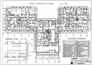 Медицинский реабилитационный центр. План первого этажа, фрагмент плана